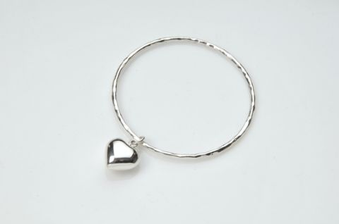 Sterling Silver Beaten Heart Bracelet